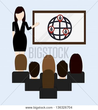 Business represented by Presentation icon. flat and isolated illustration