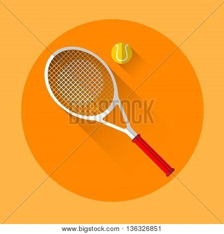 Tennis Rocket Ball Sport Icon Flat Vector Illustration
