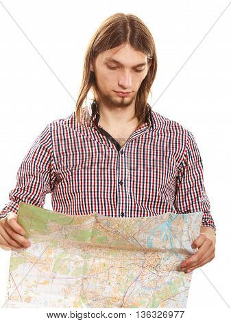 Man Tourist Reading Map On Trip. Summer Travel.