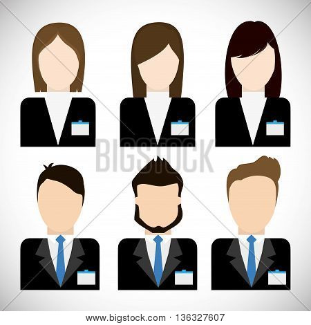 Business represented by businesspeople avatar icon. flat and isolated illustration