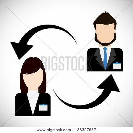 Business represented by businesspeople avatar with arrows  icon. flat and isolated illustration