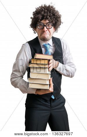 Crazy Nerd Professor With Books Isolated On White Background.