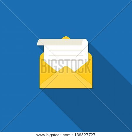 open envelope and message, in box icon, open mail and read mail concept, flat design vector for use in application of mobile  phone, smartphone and tablet