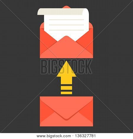 open envelope and message with arrow, in box icon, open mail and read mail concept, flat design vector for use in application of mobile  phone, smart phone and tablet