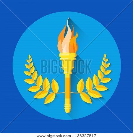 Fire Torch Golden Wreath Sport Icon Flat Vector Illustration