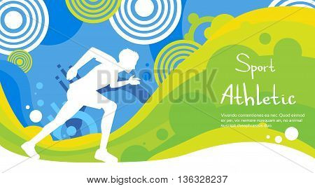 Runner Athlete Sprint Sport Game Competition Flat Vector Illustration