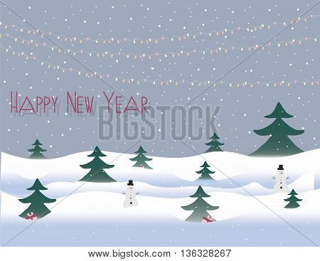 Happy New Year card with snow and lights. Vector