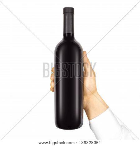 Blank black label mockup on black bottle of red wine in hand isolated. Alcohol bottle mock up presentation ready for logo design.