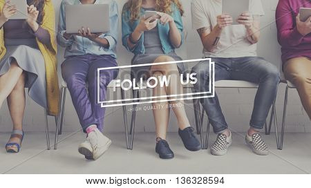 Follow Us Sharing Social Media Networking Internet Online Concept
