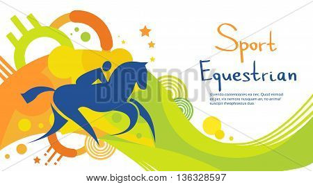 Equestrian Athlete Horse Sport Game Competition Flat Vector Illustration