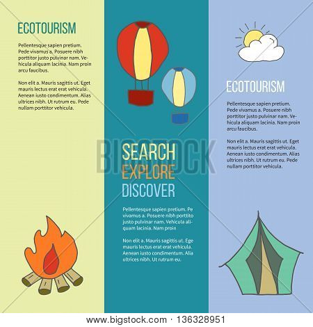 Set of ecotourism posters flyers with hand drawn doodle design elements. Hot air balloon cloud and sun bonfire camping tent. Yellow green and blue vector illustration in simple flat style.