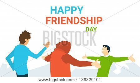 Friends Meeting Embracing Happy Friendship Day Banner Flat Vector Illustration