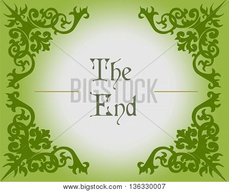 The end text in Gothic Style background with ornaments. Vector
