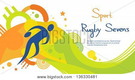 Rugby Player Match Athlete Sport Game Competition Flat Vector Illustration