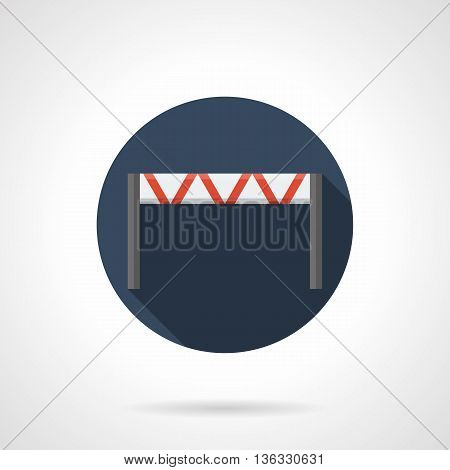 Horizontal traffic barrier. Temporary fencing for control or block road movement. Round flat color style vector icon.