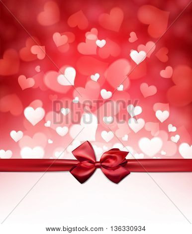 Valentine's red background with bow. Vector paper illustration.