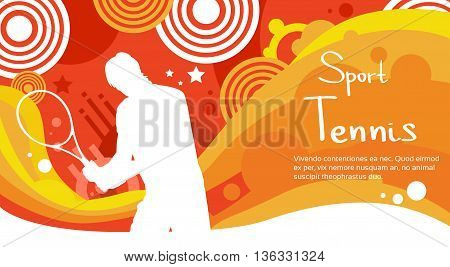 Tennis Player Athlete Sport Game Competition Flat Vector Illustration