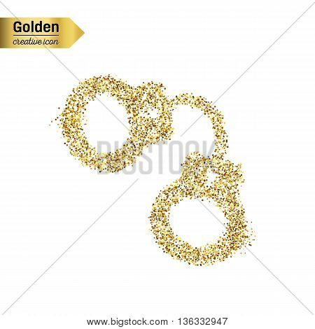 Gold glitter vector icon of handcuffs isolated on background. Art creative concept illustration for web, glow light confetti, bright sequins, sparkle tinsel, abstract bling, shimmer dust, foil.