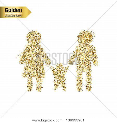 Gold glitter vector icon of family isolated on background. Art creative concept illustration for web, glow light confetti, bright sequins, sparkle tinsel, abstract bling, shimmer dust, foil.