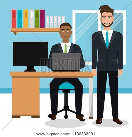 businessmen in workspace isolated icon design, vector illustration  graphic