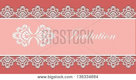 Invitation card with lace ornaments. Vector illustration