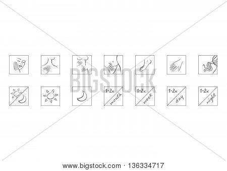 Vector set of cosmetic icon, parts of body and time of application.
