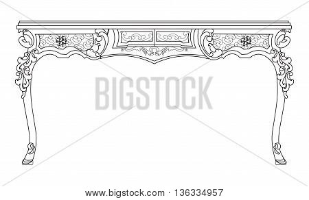Baroque style table with engraved ornaments. Vector sketch