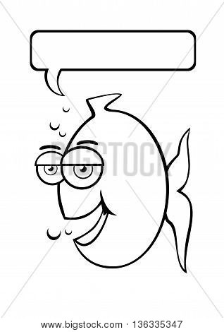 Cute fish, vector ilustration. Coloring book or page illustration concept.