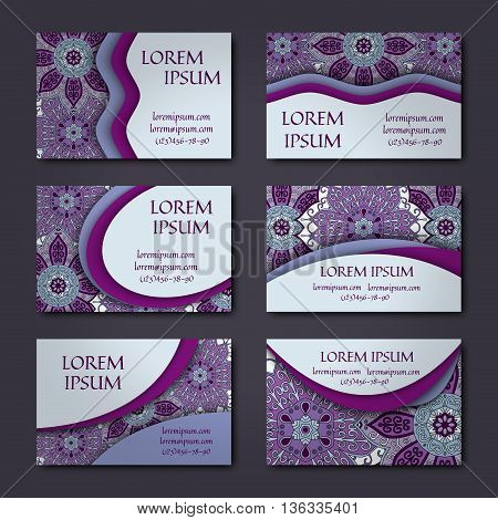 Business Card Collection. Vector Background. Vintage Decorative Elements. Hand Drawn .