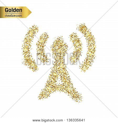 Gold glitter vector icon of TV tower isolated on background. Art creative concept illustration for web, glow light confetti, bright sequins, sparkle tinsel, abstract bling, shimmer dust, foil.
