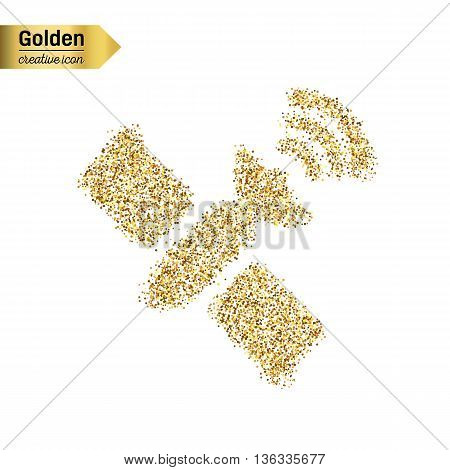 Gold glitter vector icon of satellite isolated on background. Art creative concept illustration for web, glow light confetti, bright sequins, sparkle tinsel, abstract bling, shimmer dust, foil.