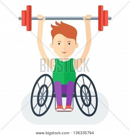 Disabled yang athlete in wheelchair exercising with barbell. Handicapped person. Handicapped athlete. Objects isolated on background. Flat cartoon vector illustration.