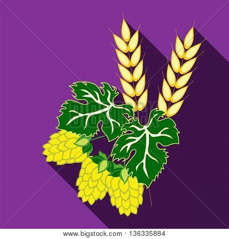 Ears of barley and hop cones with leaves. Vector image in flat style with long shadow