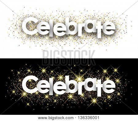 Celebrate paper banner with shining sand. Vector illustration.