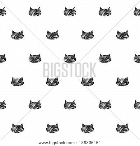 Cat heads animal zoo scribble sketch seamless pattern background. Hand drawn vector illustration.