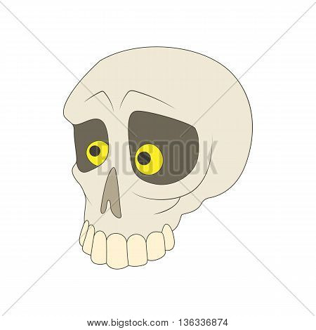 Human skull icon in cartoon style on a white background