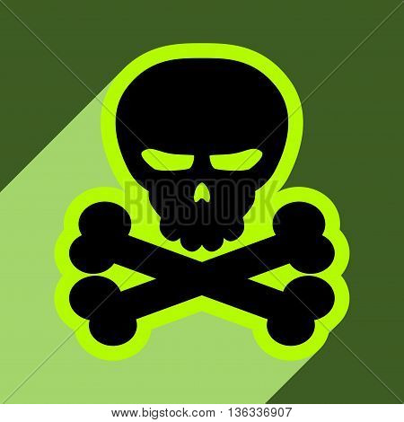 Flat with shadow icon and mobile application Halloween skull bones