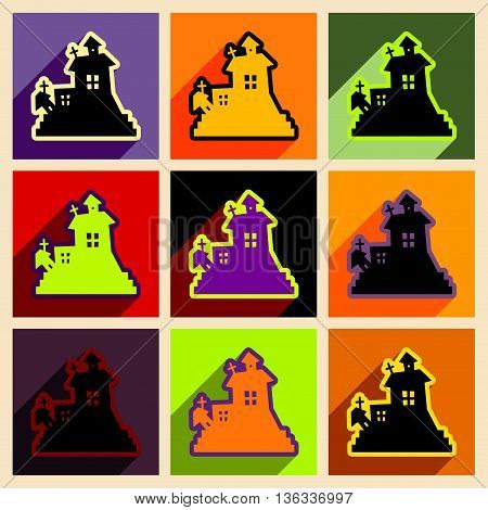 Flat with shadow concept and mobile application haunted house