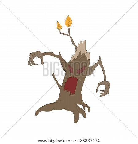 Halloween scary tree icon in cartoon style on a white background