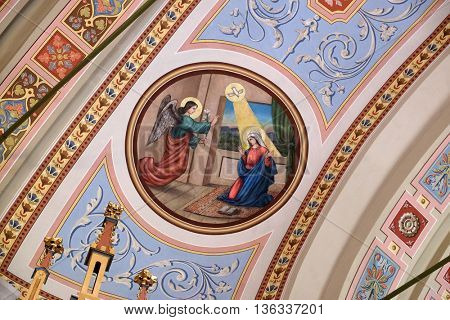 STITAR, CROATIA - AUGUST 27: Annunciation of Mary, fresco in the church of Saint Matthew in Stitar, Croatia on August 27, 2015