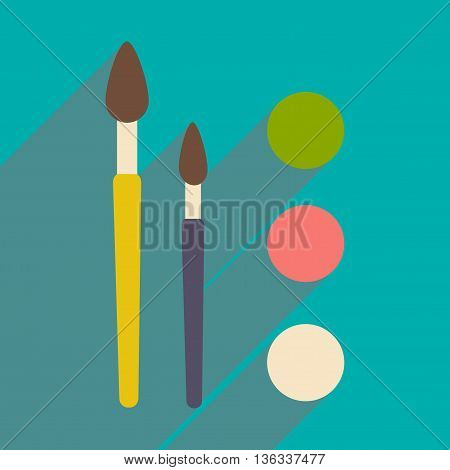 Flat with shadow icon and mobile application brush palette