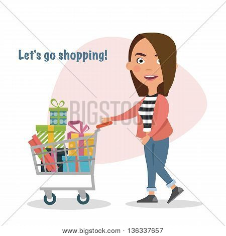 Happy Girl pushing shopping cart full of gifts, goods, lifestyle.Buyer. Sale. Vector illustration of a flat design