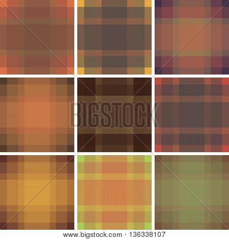 Seamless British Pattern Background Collection. Plaid Autumn Palette Tartan Pattern Set. Repeated Tw