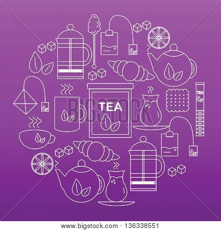 Set tea icons. Round banner with icons of tea on lilac background. Vector illustration.