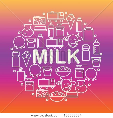 Set of icons of dairy. Round banner with icons of milk and dairy products on a colored background. Vector illustration.