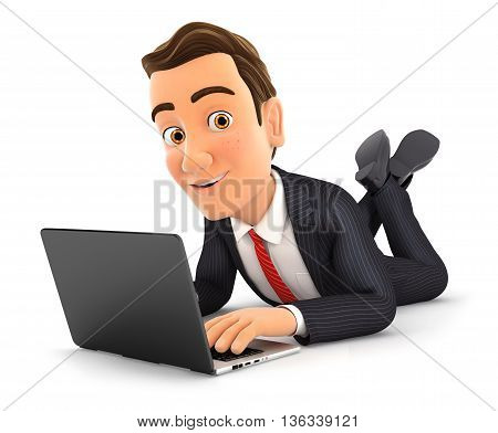 3d businessman lying on the floor and using laptop illustration with isolated white background