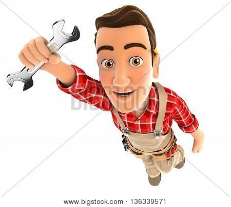 3d handyman flying and holding a wrench illustration with isolated white background