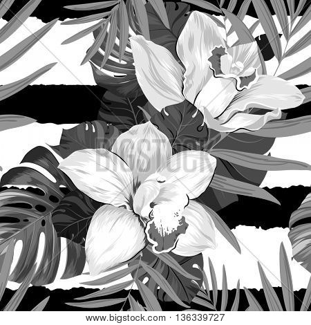 Seamless pattern of leaves monstera, palm and blooming orchids on the striped background