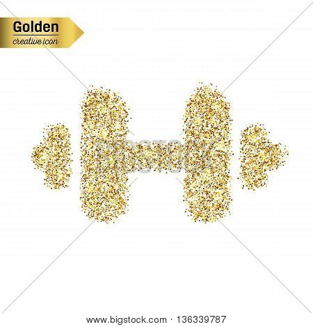 Gold glitter vector icon of barbell isolated on background. Art creative concept illustration for web, glow light confetti, bright sequins, sparkle tinsel, bling logo, shimmer dust, foil.