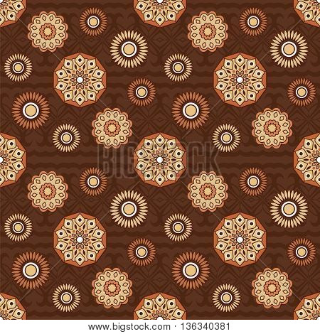 Brown seamless pattern with abstract flowers. Verctor illustration.
